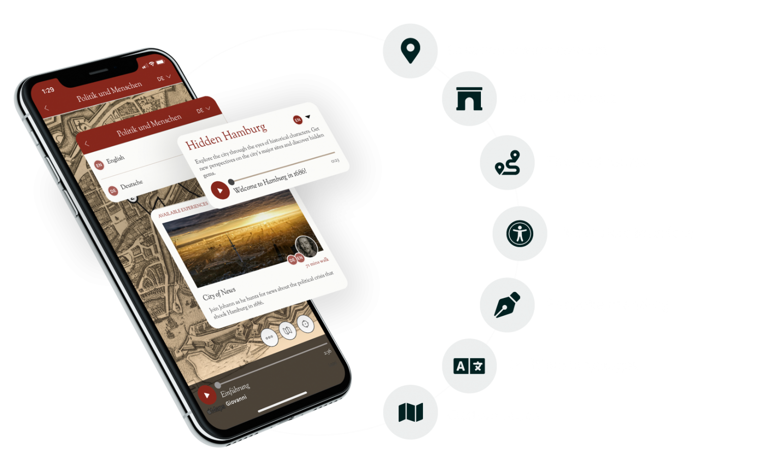 Screenshot of the Hidden Cities app, showing the key features: Location-aware content, sites of interest, themed routes, accessible interface, bespoke branding, multiple languages, custom maps.