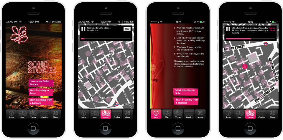 Screenshots of the Soho Stories app, using pink and grey throughout. The screens show photos of a pavement at night, lit-up by neon signs. Screens contain maps of the area with audio controls overlaid.
