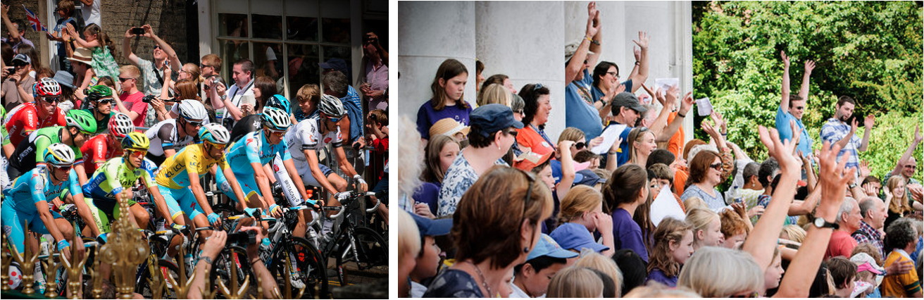 Cyclists and choirs at the 2014 Tour De France in Cambridge. Photo Credit: Alastair Appleton