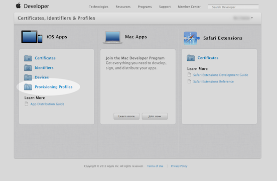 How to make a p12 file: Apple developer certificates menu