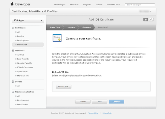 How to make a p12 file: Generate certificate step 4