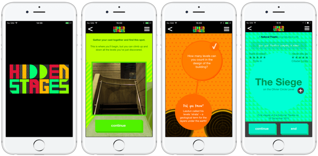 Screenshots of the Hidden Stages app, which features vibrant green, orange and teal geometric designs with circles and bold patterns.