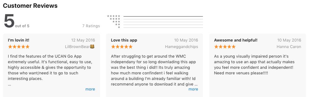 Screenshot of 5 star positive App Store reviews