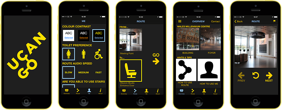 Five screenshots of the UCAN Go app, which is mainly yellow and black, showing: the splash screen; a menu of personalisation options; the route selection screen; Wales Millennium Centre menu; and one of the steps in a route.