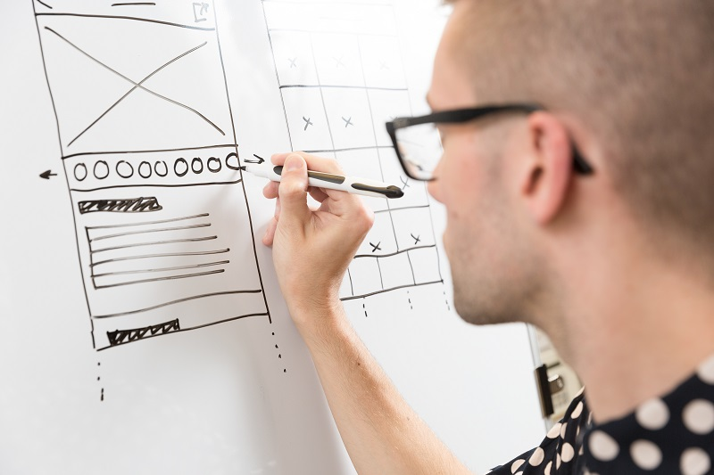 Photo of a man drawing screen wireframes on a whiteboard, taken from over his shoulder