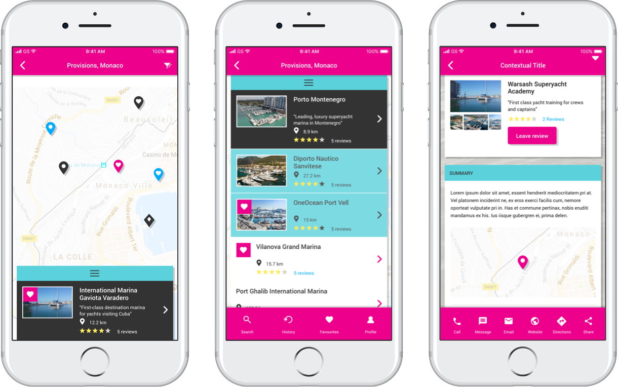 Screenshots of a the Yachting Pages app on a white iPhone. First, we see a map with key locations. Second, we see the different locations that yachts moor, with star ratings. Then, we see more information on one of the yacht mooring sites. The colours are bright, hot pink and turquoise blue.