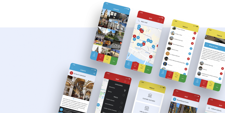 Screenshots of City Visitor Trail app