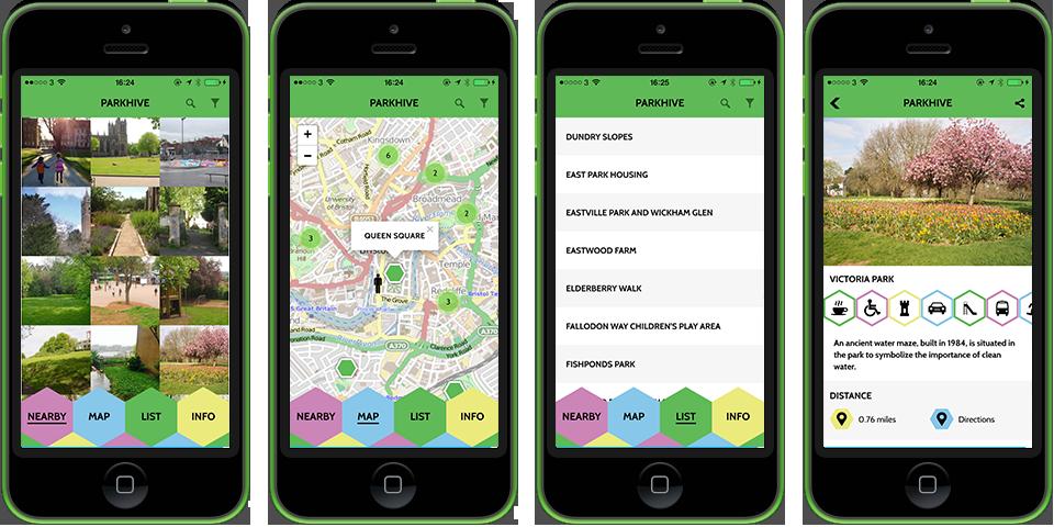 Bristol parkhive app screenshots on 4 black iPhones