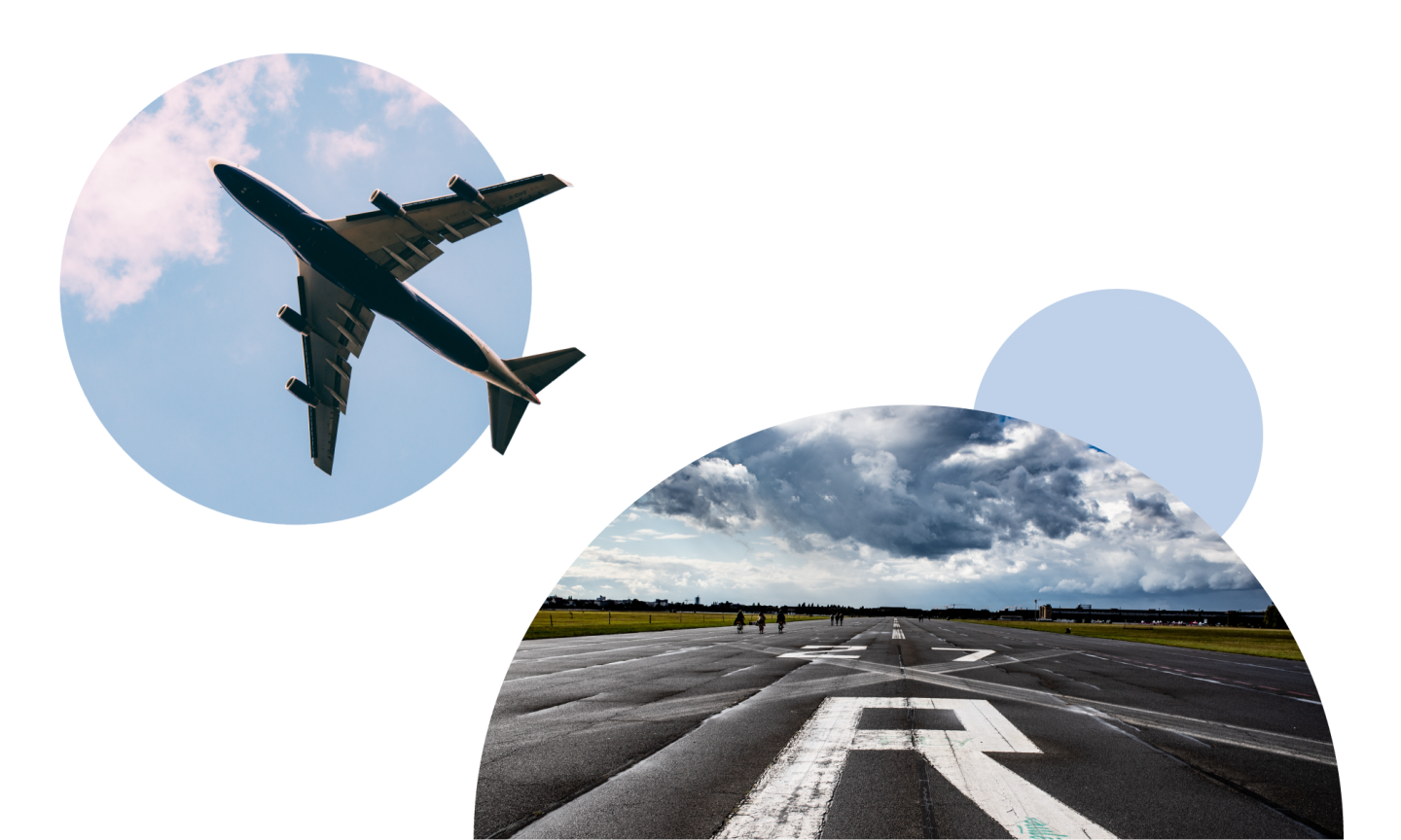 Two images laid together with a circular design: An image of a plane in the air and an image of an empty airfield runway with a capital R painted on the floor