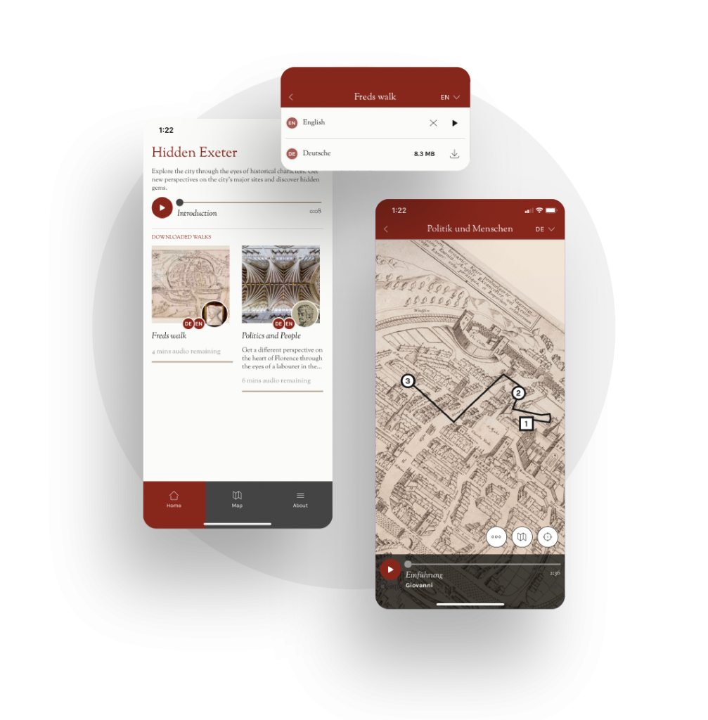 Close up images of the Hidden Cities app interface showing the historic map, language options and display of audio and story