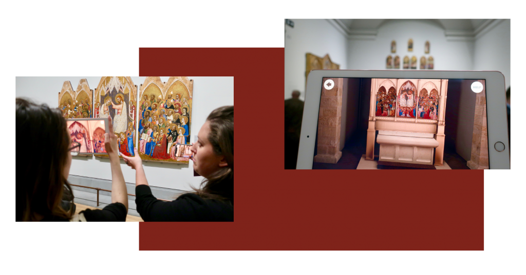 Two photos taken of the Hidden Florence 3D app launch at National Gallery - we see people using an iPad and iPhone and holding them up to the pieces of the altar hanging in the gallery and can see on their devices how the AR builds the rest of the altar to show how it would have originally looked in the church