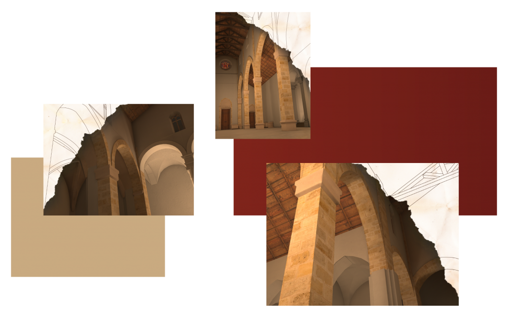 Images of the how the church is rebuilt using AR