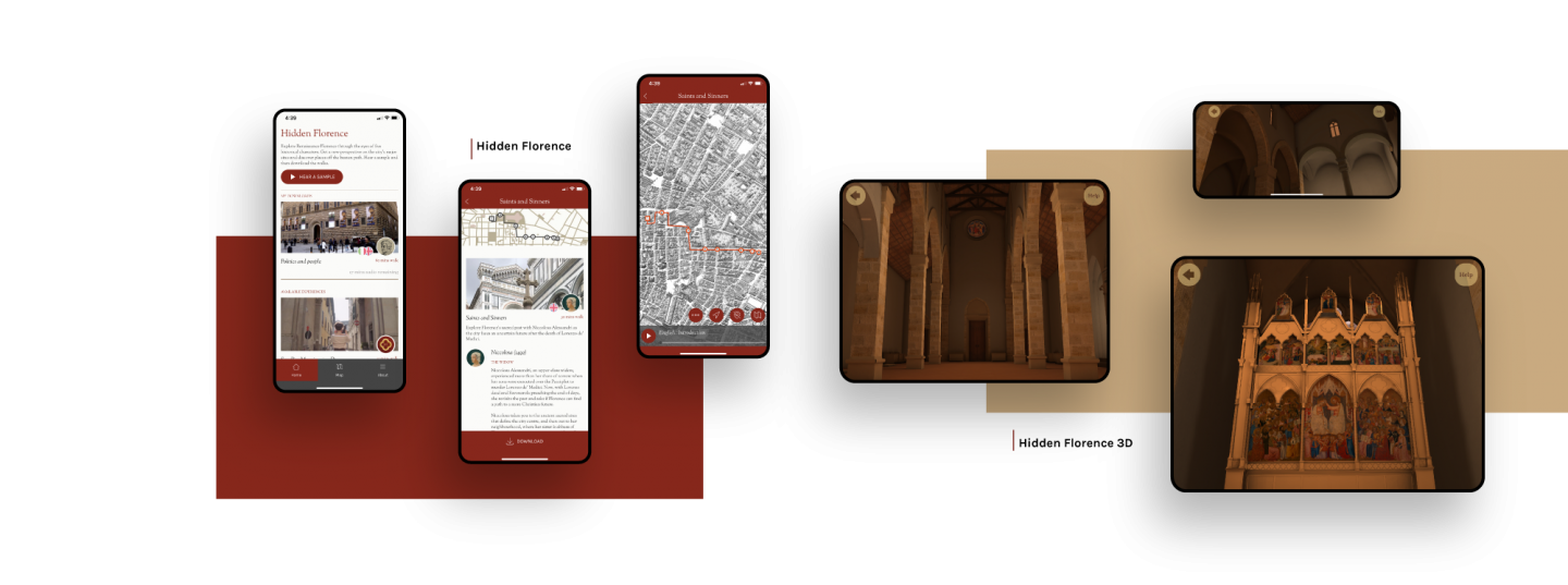 Multiple images combined to show the Hidden Florence 3D app interface and how the AR brings the altar to life