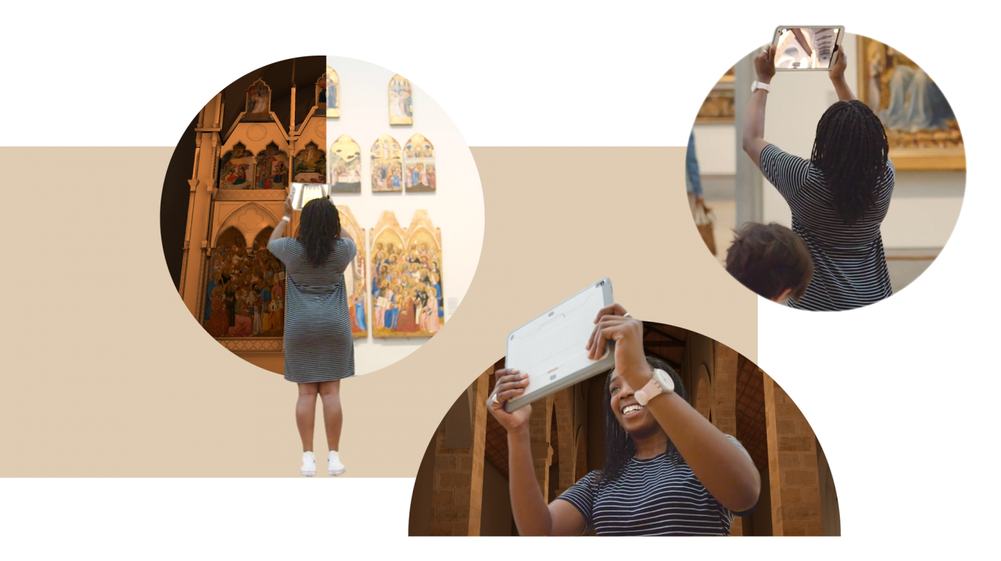 3 images combined: a black female wearing a striped dress and white trainers holds a tablet around the National Gallery and is using the Hidden Florence 3D app on the tablet. We see how by holding the tablet to the pieces of the altar hanging in the gallery, the AR builds the rest of it as it would have looked in the original church.