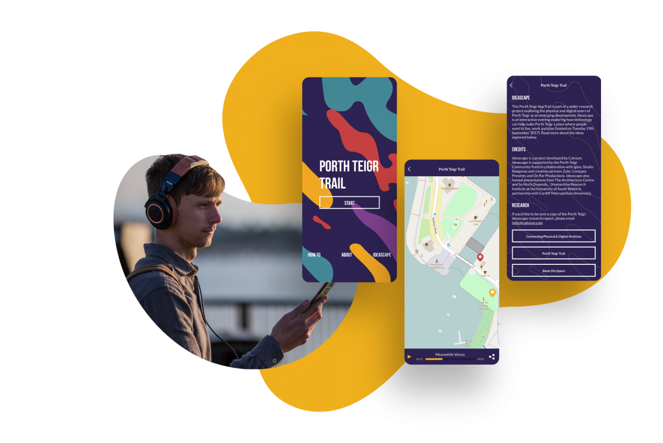 A white man with brown hair wearing big headphones holds his phone as he listens to the audio guide on the Porth Teigr app. Next to this image are 3 screens from the trail app, with purple background and white text