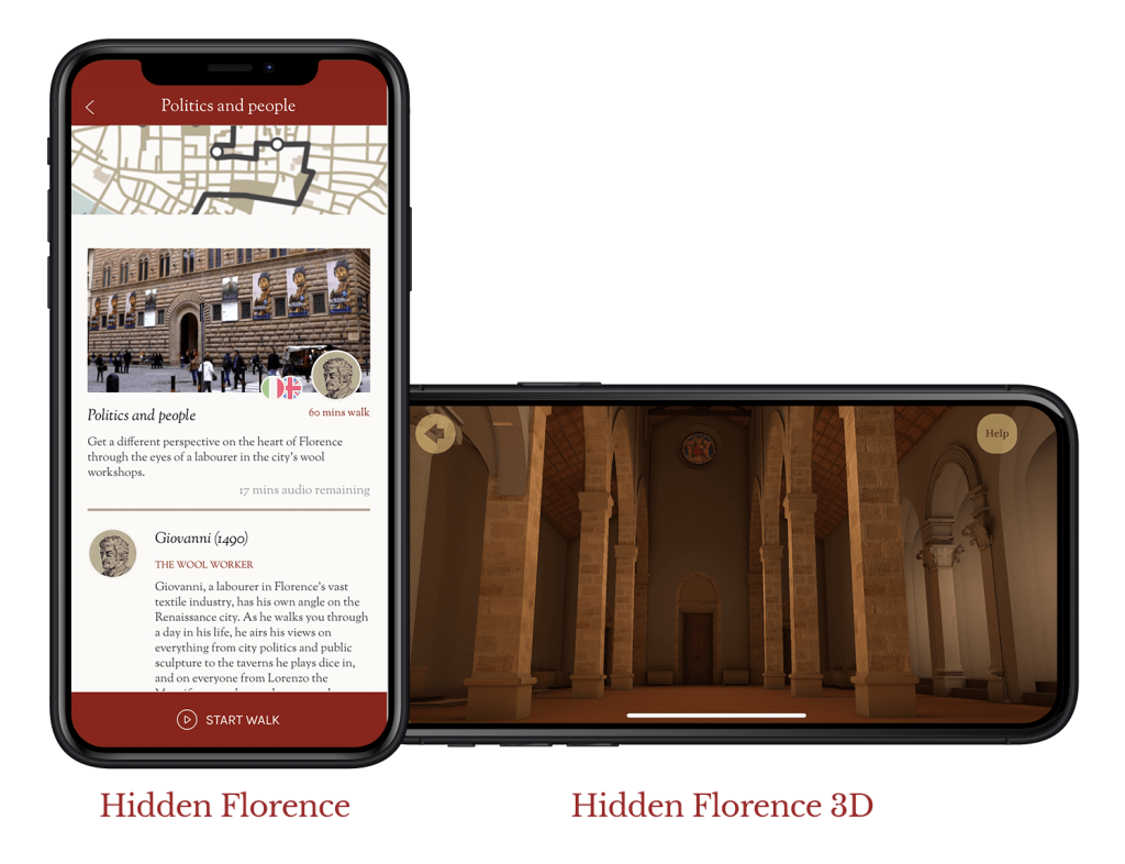 Screens from the Hidden Florence and Hidden Florence 3D apps