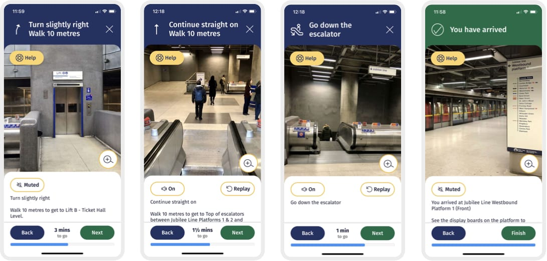Four screens from the NavSta wayfinding flows, showing photos and instructions available in text or audio, for navigating through a train station
