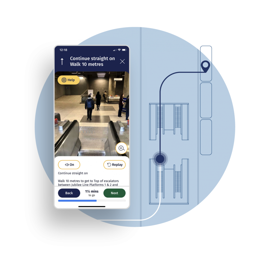 A screenshot of the user interface is overlaid an artist's illustration of how the app directs the user through the station. The image of the user interface shows a POV of the person going down escalators into a busy train station. The NavSta app is giving clear directions - with white text on a navy blue background.