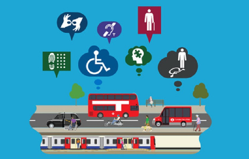 Illustration of London transportation systems, below speech bubbles containing a variety of accessibility icons