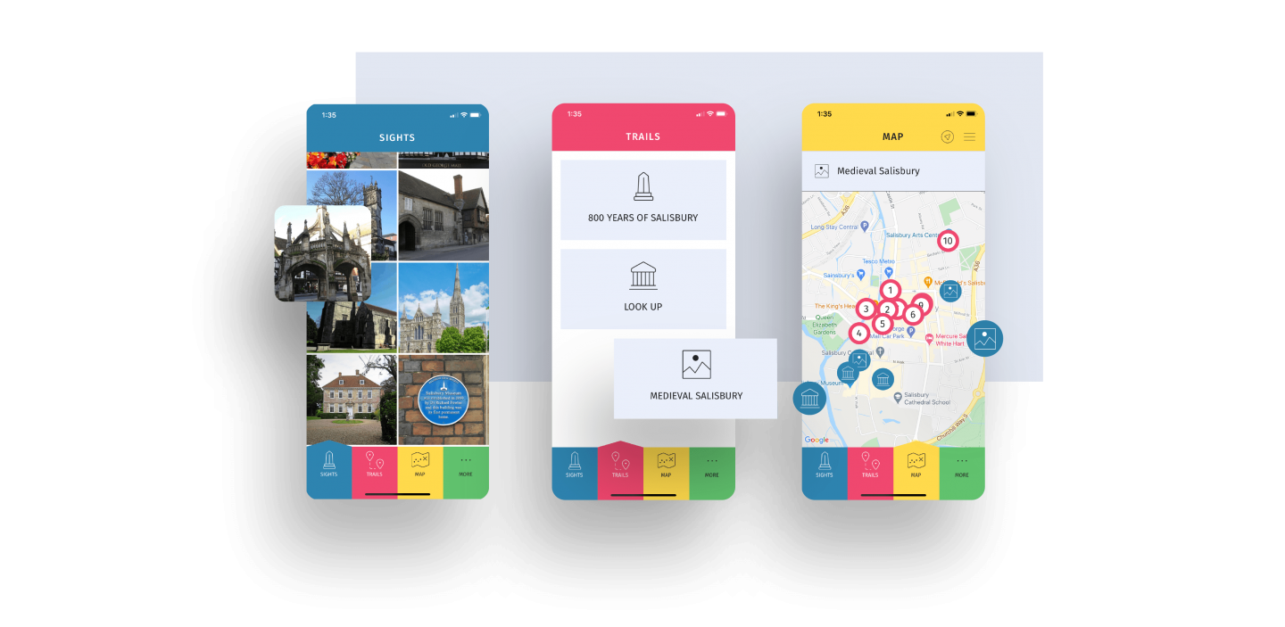 """3 screens show the user interface of the Salisbury Trails app. 1st shows the sights that are on the trail, second shows the different trail choices such as """"Look Up Salisbury"""" and """"Medieval Meanderings."""" The third shows the map on the app with different check points and places of interest"""