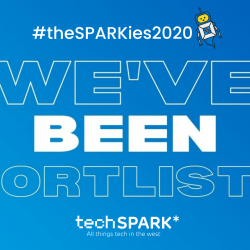 Graphic reads #theSPARKies2020 WE'VE BEEN SHORTLISTED on a blue background