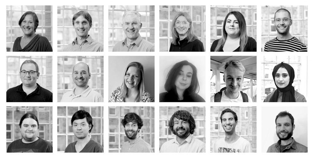 Grid montage of the Calvium team in black and white