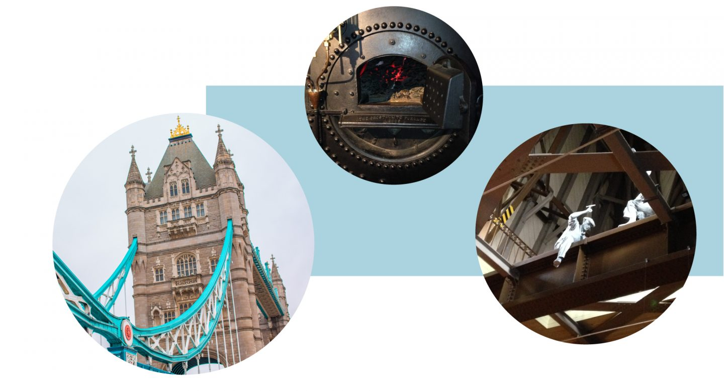 Here we see a collage of 3 images of Tower Bridge against a pale blue background: the first is of 1 of the Towers with part of the blue bridge showing. The second is of the inside with a fire furnace. The third is of 2 statues of men sitting across a iron structure with tools in their hands as if they are working in real life.