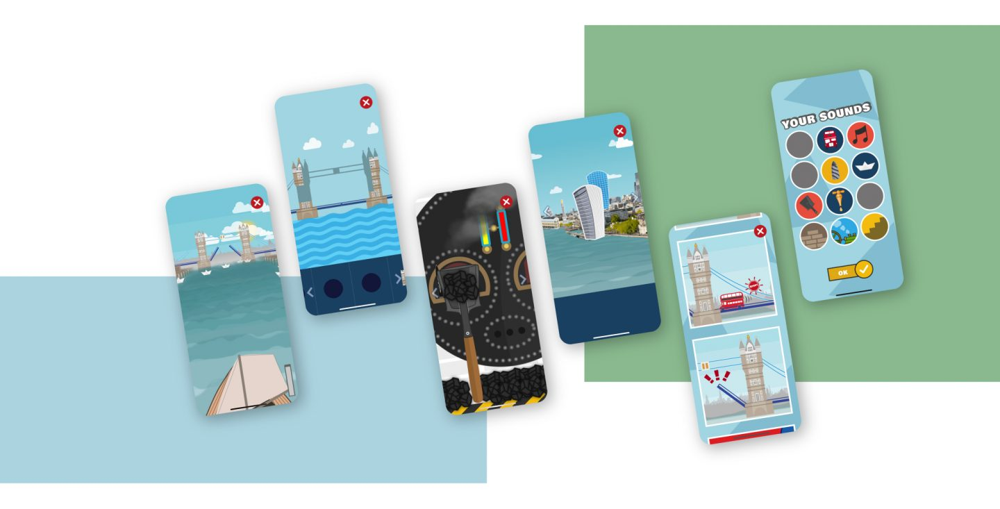 Collage of different Games in the Tower Bridge app