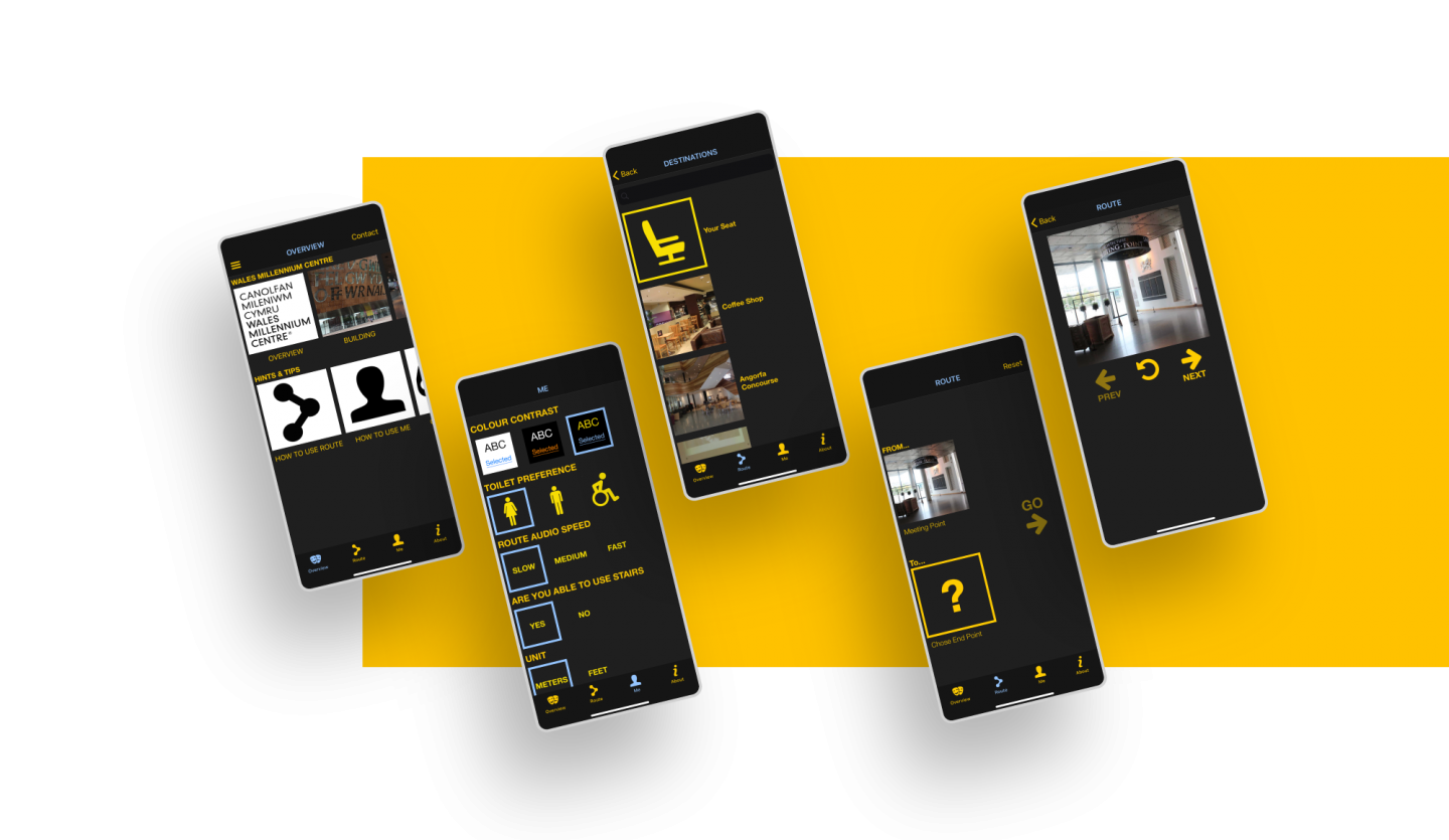laid over a bright yellow background, 4 screenshots show the user interface of the UCAN GO app