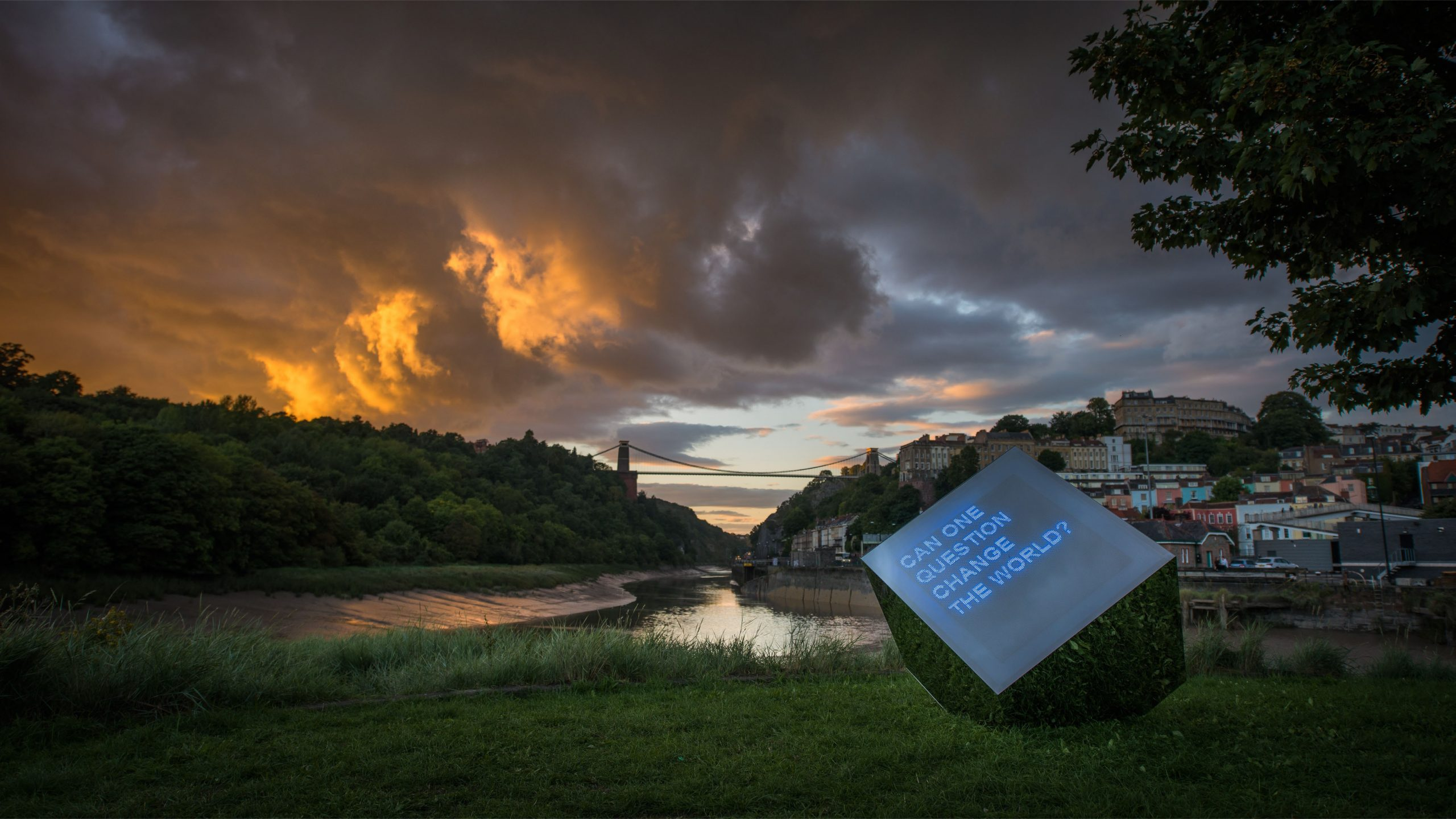 We The Curious Curious Cube with clifton suspension bridge in the background
