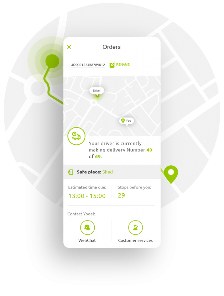 Up close screenshot of the Yodel app - showing how the parcel is tracked against a map, with estimated delivery time, how many stops the driver has to make and where the safe place to leave the parcel is. At the bottom of the screenshot there are also buttons for 'Webchat' and 'customer services'