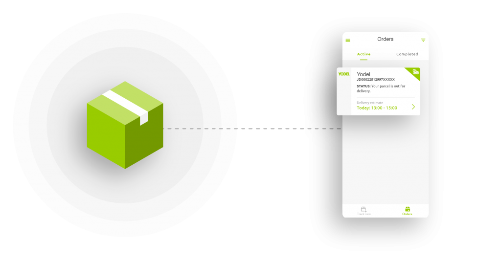 Illustration shows a lime green parcel pointing to the Yodel app user interface, showing how the parcel is tracked by the app