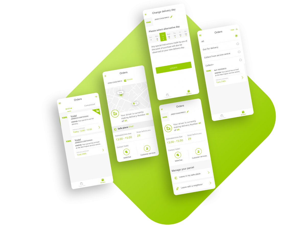 Laid against a lime green background, multiple screenshots of the Yodel app user interface are stitched together to show how the app works