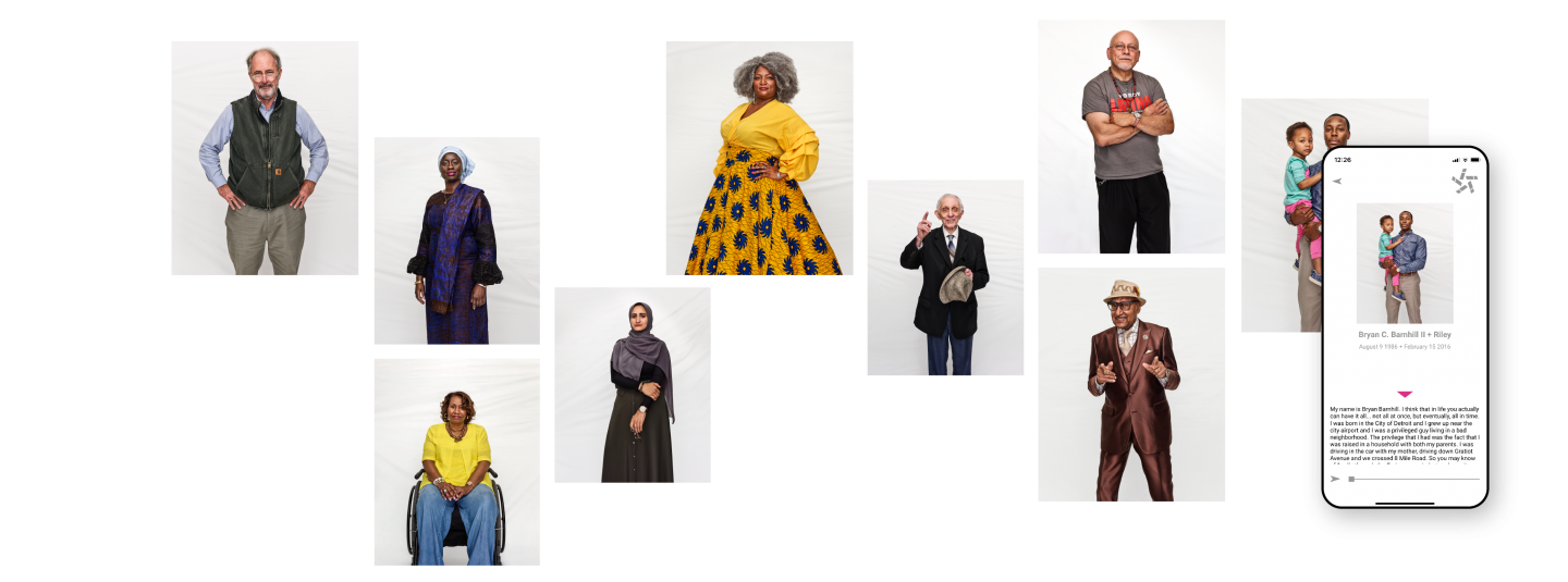 Portraits from the i.Detroit app and book are stitched together in a formation to show the variety of people photographed