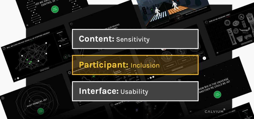 Slide from 'User Research in a time of Uncertainty' presentation: Text reads 'Content: sensitivity' 'participant: inclusion' 'interface: usability'